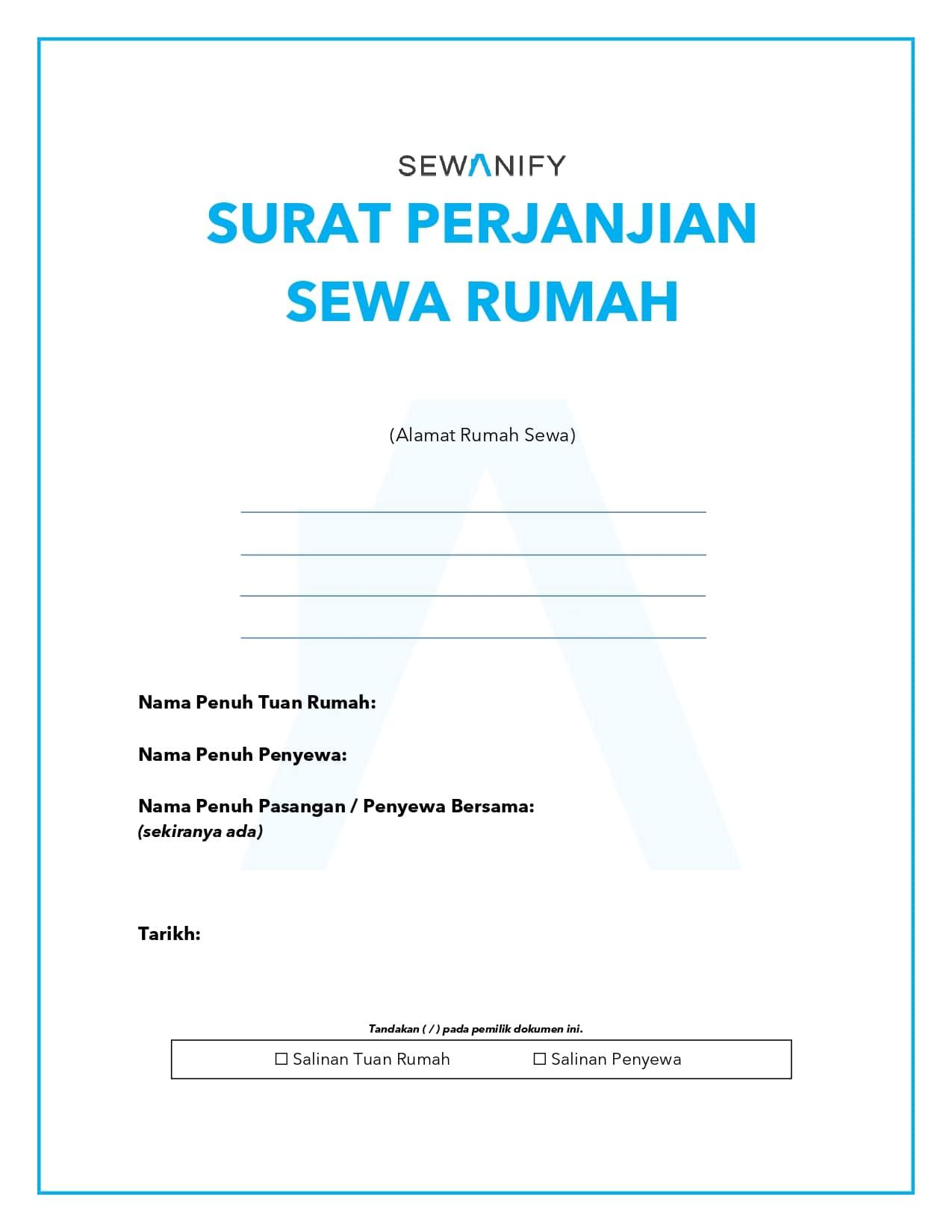 Cover - Surat Perjanjian Sewa Rumah