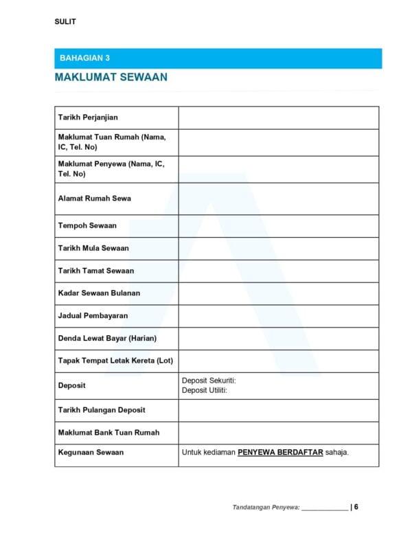 Maklumat Sewaan - Surat Perjanjian Sewa Rumah