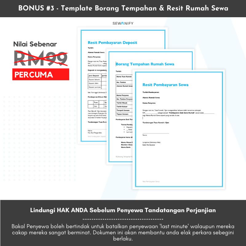 Template Borang Tempahan & Resit Rumah Sewa (Bernilai RM99)